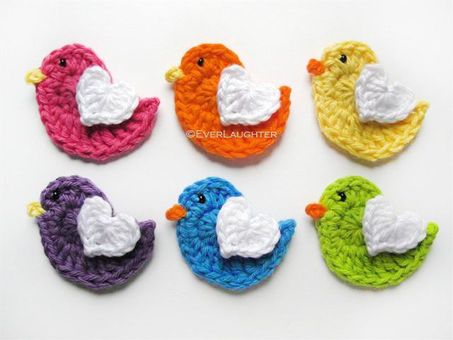 PATTERN-Crochet Bird with Heart Wing Applique-Detailed Photos. $5.75, via Etsy.