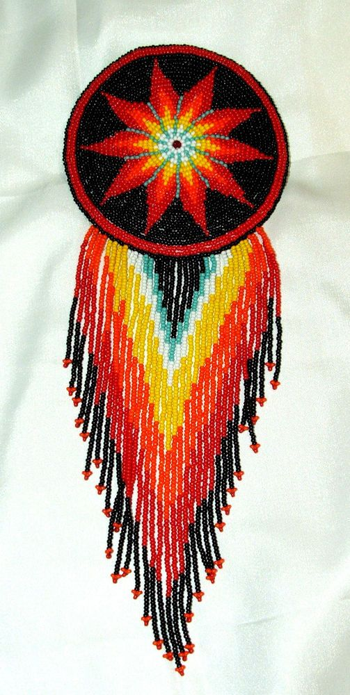 "A stunning 4"" dia beaded rosette barrette with 7"" long fringe. French clip closure. $39.95 w/ FREE SHIPPING w/in the USA.  A colorful  addition to anyone's regalia.  #barrettes #beaded #regalia #nativeamerican"
