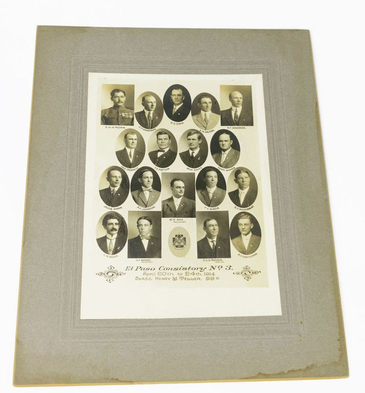 El Paso Texas Freemason Masonic Lodge Member Photos Consistory No 3 1914 Antique