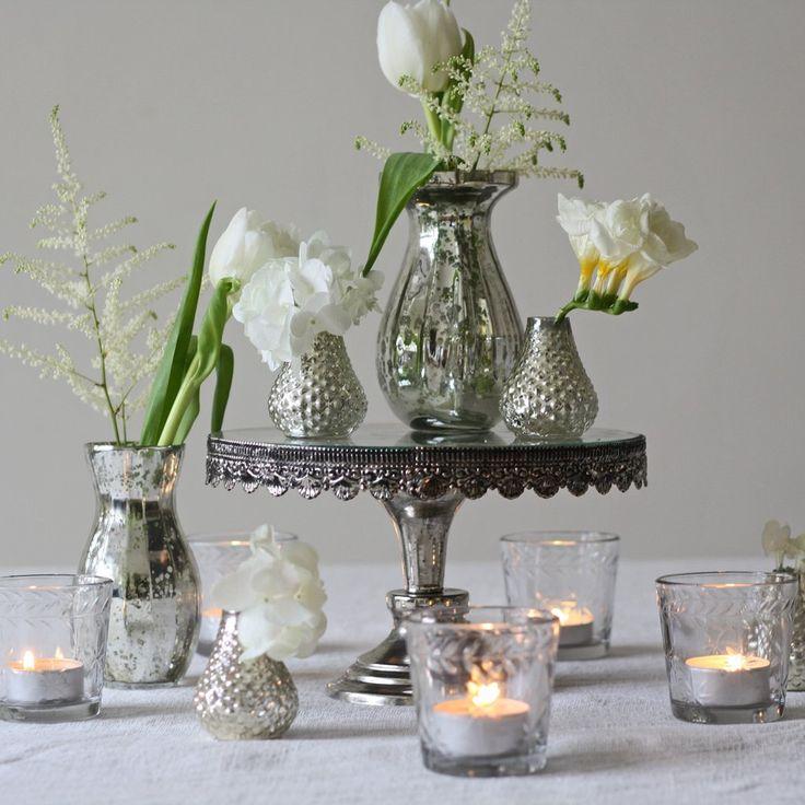 mercury silver glass vase small dainty