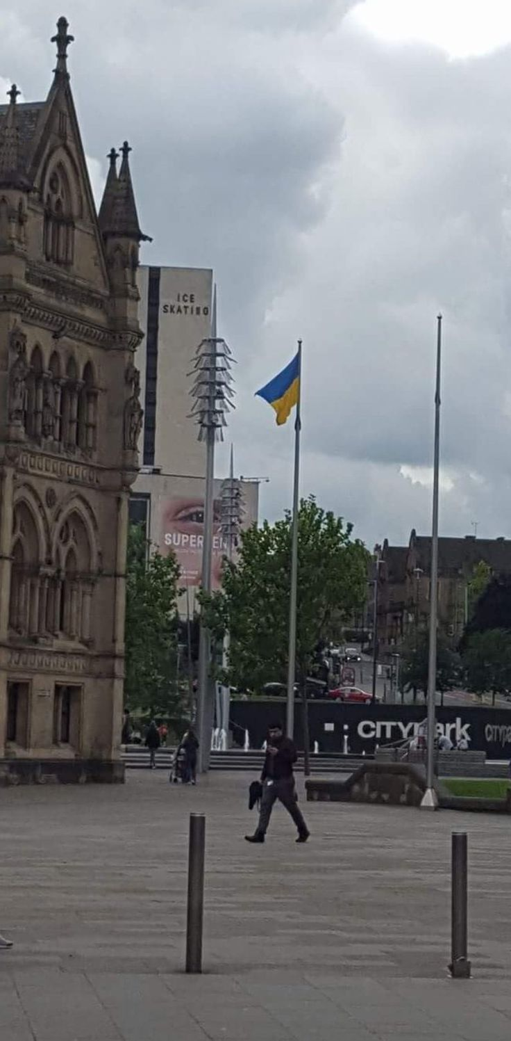 The Ukrainian Flag erected outside Bradford Town Hall to mark the Ukrainian Independence Day on 24 August 2017