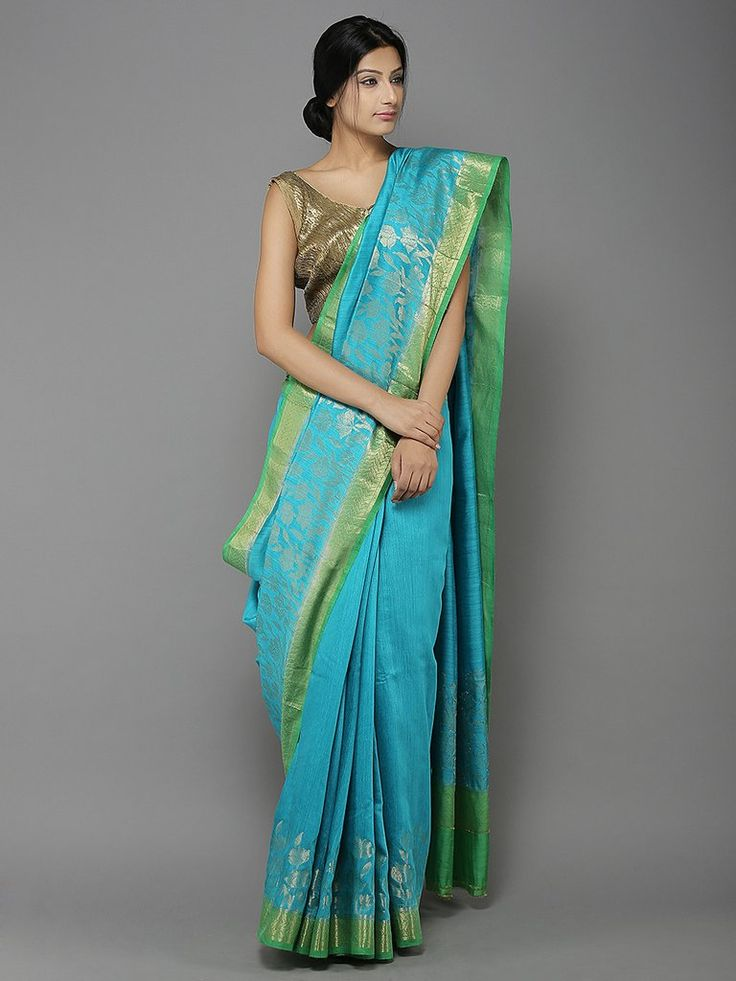 Blue Green Handwoven Banarasi Tussar Silk Saree