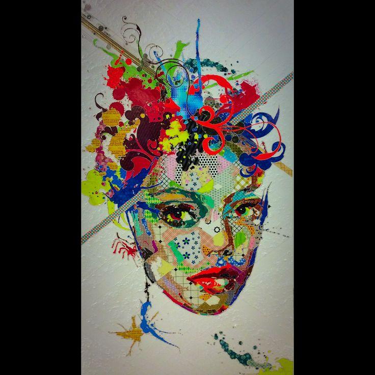 """Pınar Du Pre """"Audrey"""" 220x125cm/mixed media on canvas/2015"""