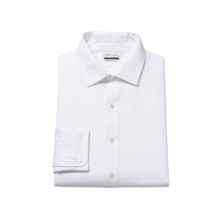 Men's Van Heusen Flex Collar Regular-Fit Pincord Dress Shirt, Size: 15.5-32/33, White