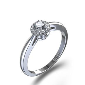 Schimmernder Halo Diamantring aus14kt Weissgold