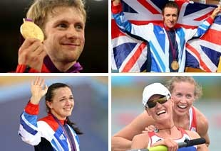 Image: Great Britain gold medalists (clockwise from top left) Jason Kenny, Bradley Wiggins, Heather Stanning, Helen Glover & Victoria Pendleton (© Bryn Lennon/Getty Images; Alex Livesey/Getty Images; Eric Feferberg/AFP/Getty Images; Ian MacNicol/Getty Images)