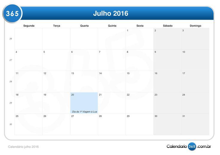 Calendario Julho 2016 Para Imprimir