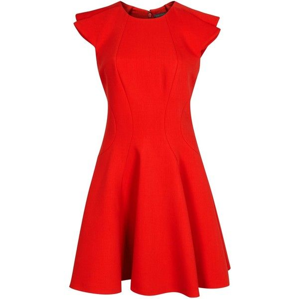 Alexander McQueen Red Flared Wool Blend Dress (38.125 RUB) ❤ liked on Polyvore featuring dresses, red flare dress, red circle skirt, red ruffle dress, flared skirt and flared skirt dress