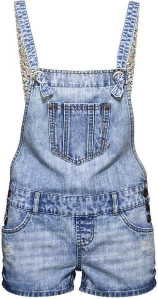Джинсовый комбинезон женский шорты