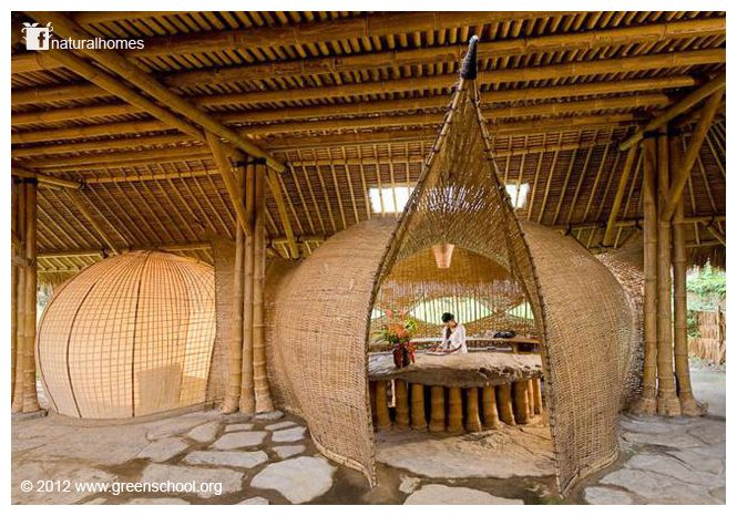 As testimony to the flexibility and strength of bamboo, these sea urchin shaped pods are rooms in the Green School, Bali www.greenschool.org If you are a regular visitor here and you have started to wonder about what makes a home beautiful, can I recommend: A Pattern Language by Christopher Alexander www.naturalhomes.org/book-other.htm#patternlanguage