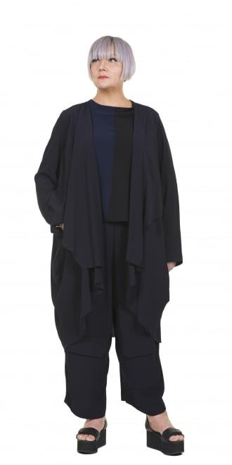 Okishi Navy Crepe Trouser
