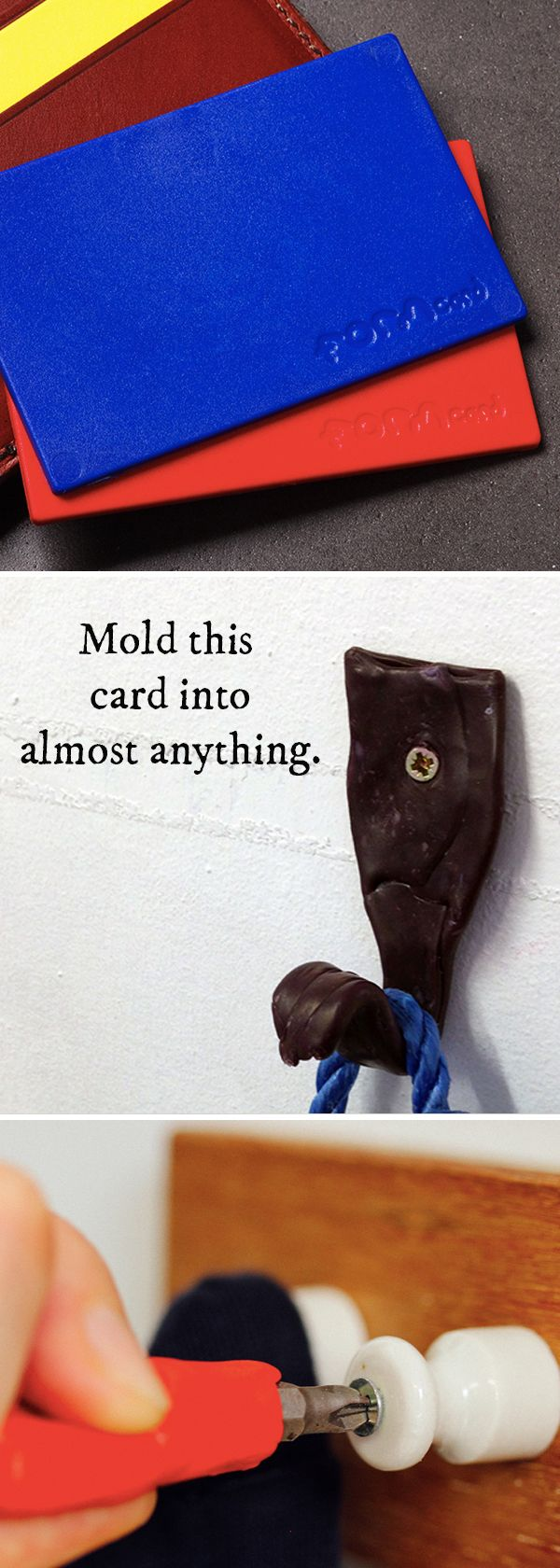 Activate this reusable, moldable plastic card in boiling water, wait for it to cool, then transform it into virtually anything—from a phone stand, to a handle for a broken tool . . . even replace a missing button.