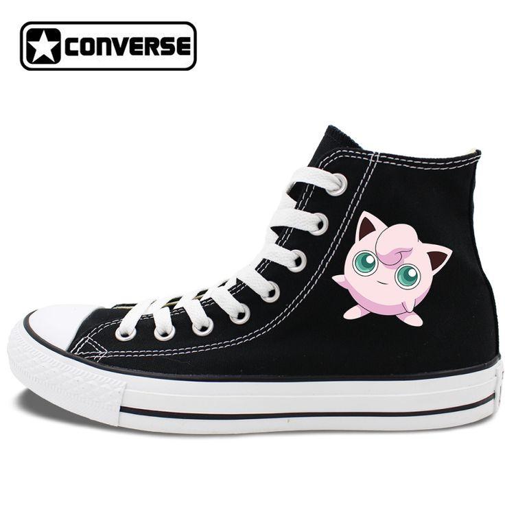 Converse All Star Shoes Anime Pokemon Jigglypuff Black White Canvas Sneakers Men Women Skateboarding Shoes Brand All Star #Affiliate