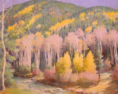 Joseph Henry Sharp, 'Aspens-Hondo Canyon-Falling Leaves'.