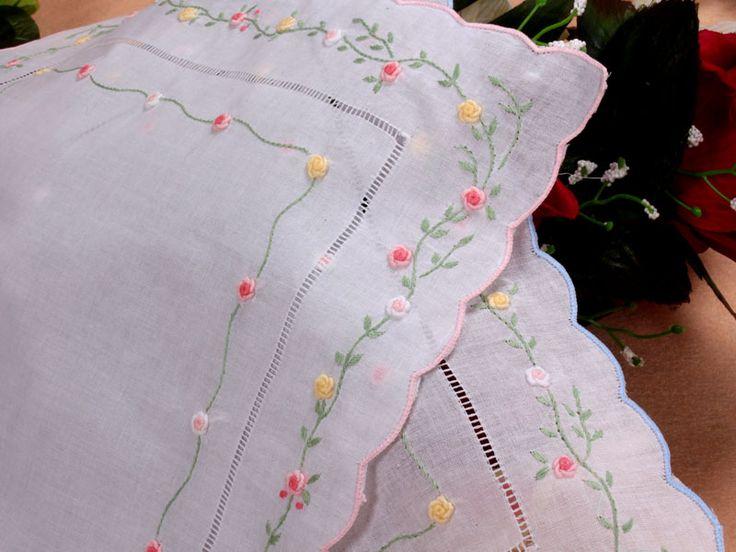 cotton white embroidery Four corners Lady Handkerchiefs