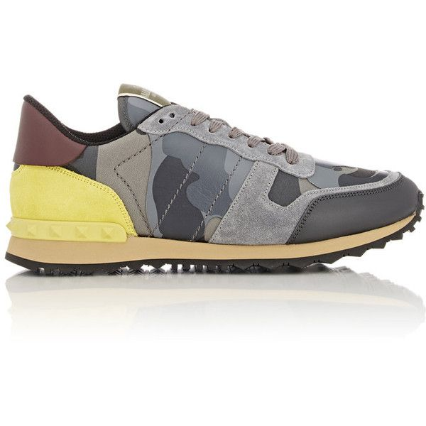 Valentino Men's Camouflage Rockrunner Sneakers ($845) ❤ liked on Polyvore featuring men's fashion, men's shoes, men's sneakers, white, mens lace up shoes, mens leather shoes, valentino mens sneakers, men's low top shoes and mens shoes