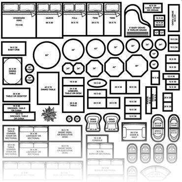 Floor Plan Furniture Symbols, Interior Design Furniture Templates 1 4 Scale