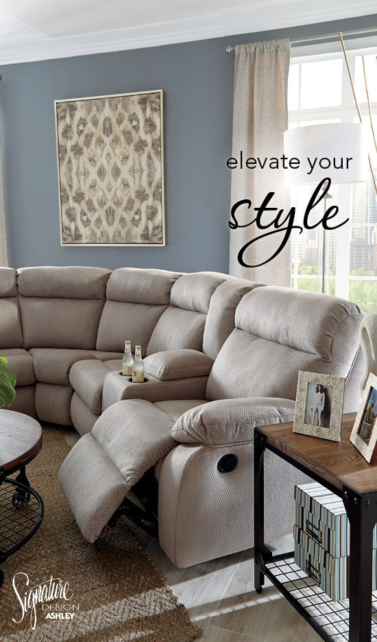 Elevate your style with the Demarion Dual Reclining Sectional! Ashley Furniture - #AshleyFurniture #Sectionals