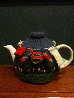 Washing day tea cosy knitted by me!
