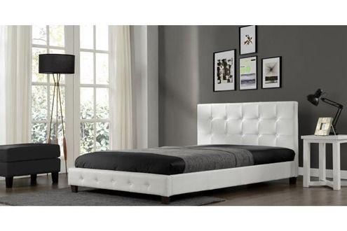 CONCEPT USINE Lit Notting Hill - Cadre de lit en simili cuir capitonné Blanc - 160x200cm