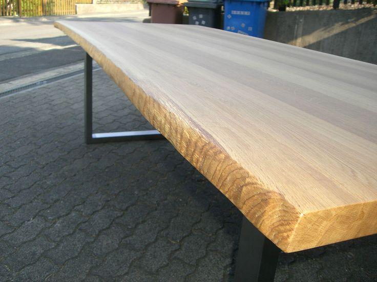 Eiche Esstisch Baumkanten 200 x 100 cm Gestell  Edelstahl,  Platte voll massiv