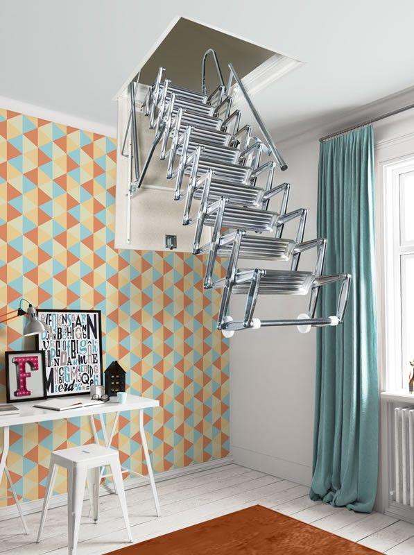 Fontanot Zooom Loft Ladders Loft Ladder Open Plan Kitchen Living Room Loft