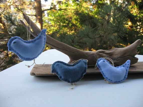 bird ornamentsprimitiverustic  cottage chicrecycled by Voweco