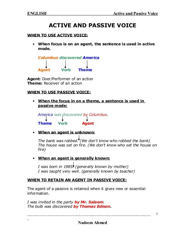 Active and Passive Voice ACTIVE AND PASSIVE VOICE WHEN TO USE ACTIVE ...