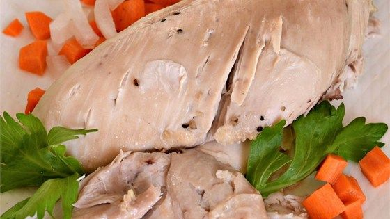 A basic recipe for how to poach chicken. Use this method for poaching chicken when a recipe calls for poached chicken.