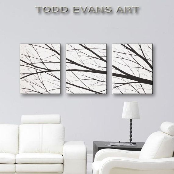 SALE Wall Art Canvas Art Tree Painting Black and by ToddEvansArt
