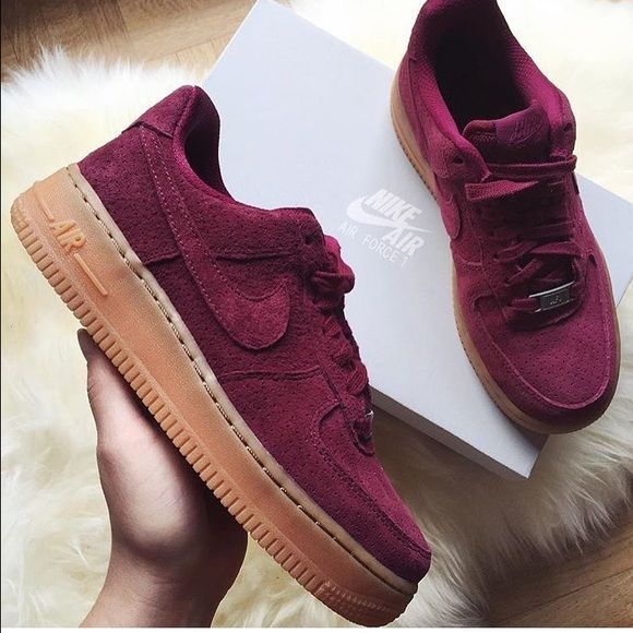 Nike Air Force 1s Gorgeous maroon suede sneakers. Size is too big for me. Worn once! Nike Shoes Sneakers