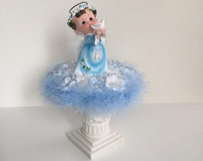 Bebé Ángel Centerpiece - blanco y azul / pedestal angel /baby muchacho de la torta bautismo superior torta centro pedazos / de la torta, Narelo del bebé