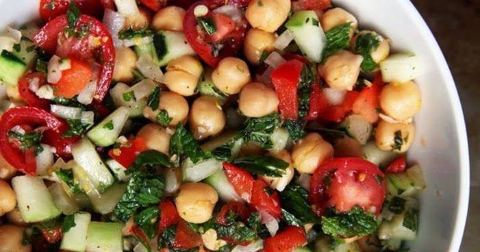 Cantinho Vegetariano: Salada de Grão-de-Bico com Vinagrete e Hortelã (vegana)