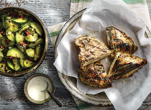 White Barbecue Chicken and Grilled Cucumber Salad  from Publix Aprons