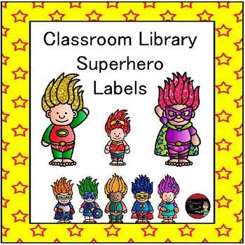 Ready for a classroom library makeover?  These superhero labels will catch the attention of your students!  There are 44 different genre labels that will help students find exactly what they are looking for which will encourage more reading.$  Susan Mescall @https://www.teacherspayteachers.com/Store/Susan-Mescall