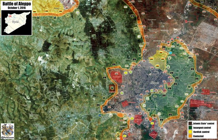Map of battle of Aleppo as of October 1