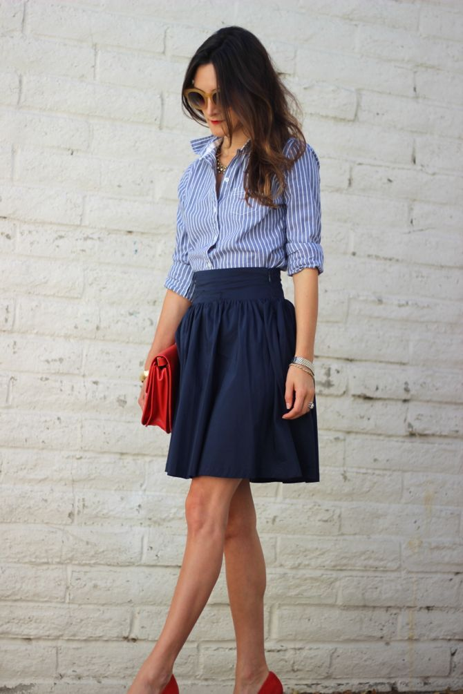 Loving the striped men's style shirt paired with a classic navy skirt