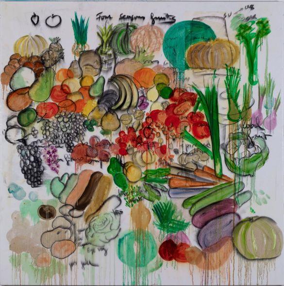 fabrice hybert, four seasons fruits, charcoal, 2013