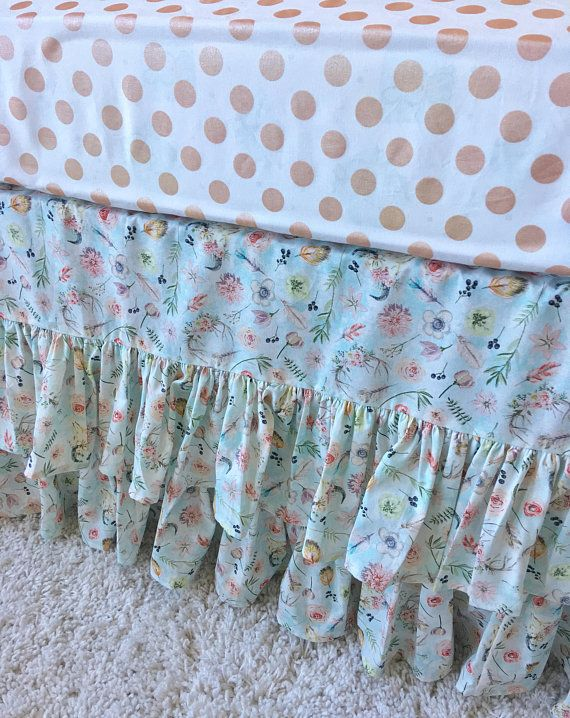 In Stock and Ready to Ship Boho Chic Crib Skirt Mint Crib