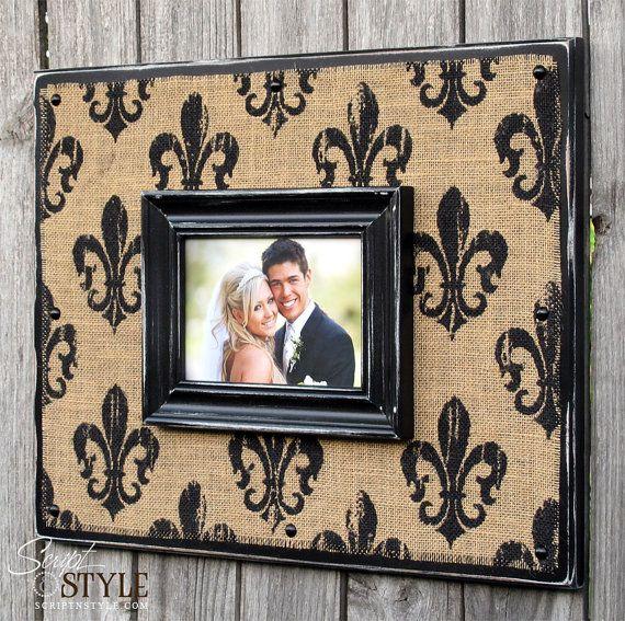 Fleur De Lis Burlap Picture Frame Sign Burlap Photo Frame With
