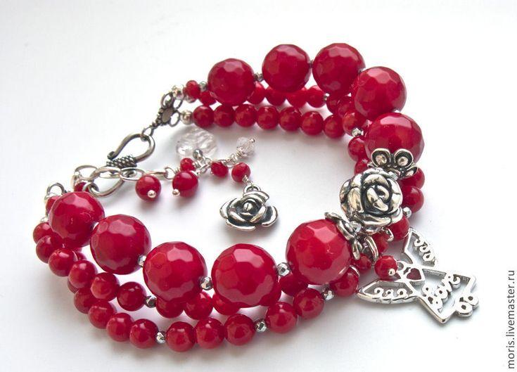 """Купить Браслет """"Ангел мой ..."""" кораллы, серебро... - объемный браслет, браслет из камней"""