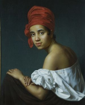 Creole in a Red Turban, by Jacques Guillaume Lucien Amans, c1840