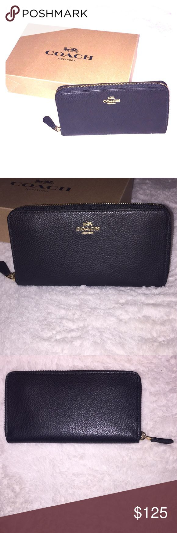 """✨NWT Coach Black Pebble Accordion Zip Wallet✨ NWT Coach Black Accordion Zip Wallet with Gift Box!   Extra soft, polished pebble leather. Made in Vietnam. Imitation gold hardware accents.  12 credit card slots.  Full-length bill compartments. Zip coin pocket.  Zip-around closure. Fits all phone sizes up to an iPhone X & Samsung S7 Edge. 7 1/2""""(L) x 4""""(H) x 3/4""""(W) Coach Bags Wallets"""