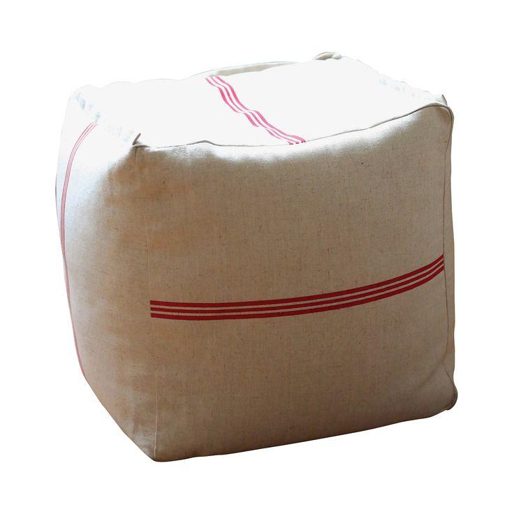 Feed Sack Cotton Pouf | dotandbo.com