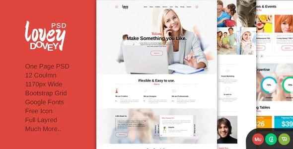 nice Lovey Dovey One Page PSD Template