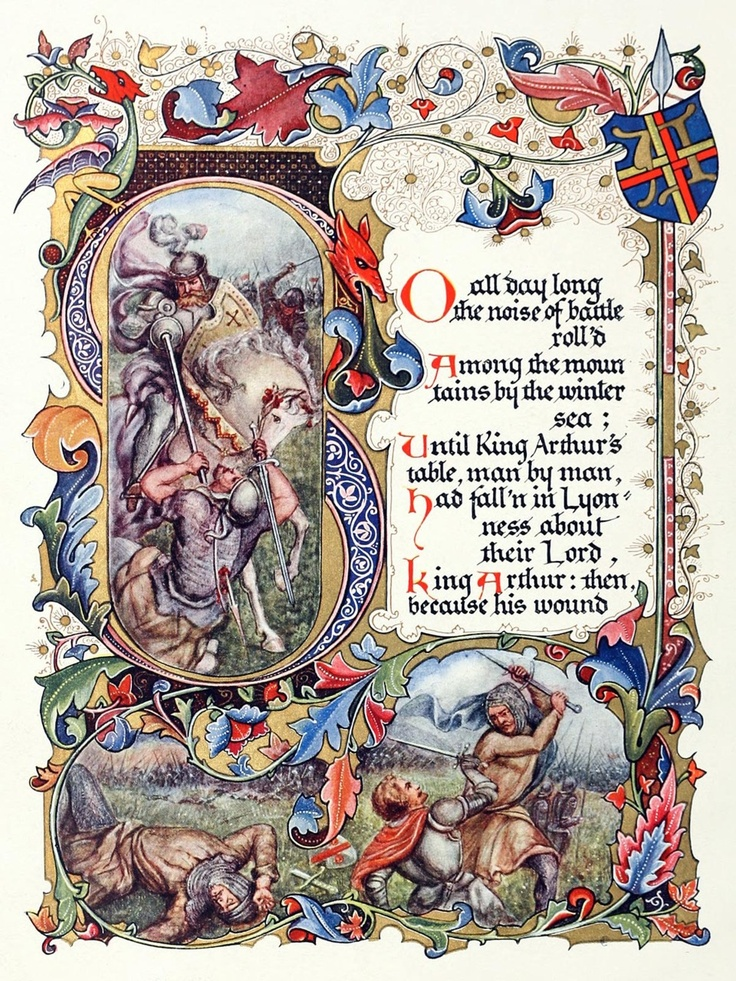 Illuminated!  So all day long the noise of the battle roll'd  Among the mountains by the winter sea…    from Morte d'Arthur, a poem, by Alfred, Lord Tennyson. Bookbindery: Alberto Sangorski,  London, 1912.