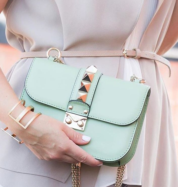 Valentino Rockstud bag in pastel green.
