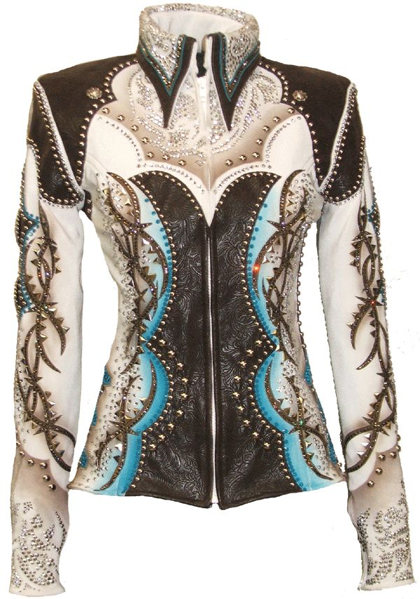 Super gorgeous show jacket with dark chocolate tooled leather, and expertly airbrushed with taupes and blues. Thousands of tiny silver spots and nailheads, as well as crystals and conchos decorate this awesome western themed jacket! $3250.00