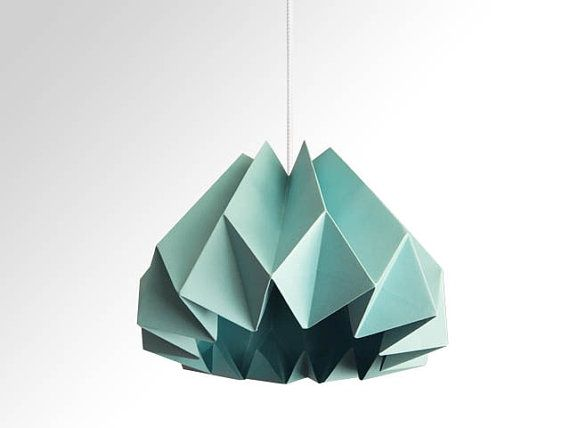 Pumpkin / Origami Paper Lamp Shade  Turquoise by TwReborn1 on Etsy, $46.45