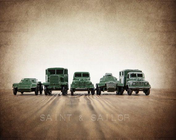 Vintage Matchbox Army Truck lineup, Photo Print, #art #photography @EtsyMktgTool http://etsy.me/2ixLthC